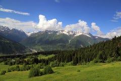View of a mountain valley, View of a mountain valley near the village of Mestia in the Upper Svaneti region, Georgia royalty free stock photos