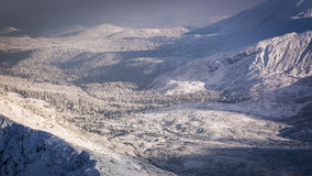 View of the mountain valley in winter Royalty Free Stock Image