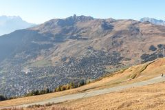 Verbier ski ressort in Switzerland aerial view season stock photography