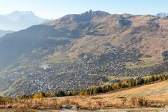 Verbier ski ressort in Switzerland aerial view season royalty free stock images