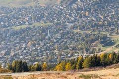 Verbier ski ressort in Switzerland aerial view season royalty free stock photos