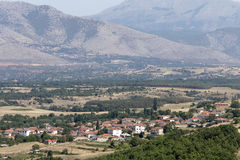 View of the mountain village. And arable land on a sunny day Macedonia, northwest Greece Stock Photos