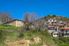 View of mountain village, Baltessiniko in Arcadia, Peloponnese,. Greece Stock Photography