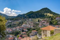 View of mountain village, Baltessiniko in Arcadia, Peloponnese,. Greece royalty free stock photo