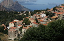 View of a mountain village in Corsica. Royalty Free Stock Photo