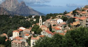 View of a mountain village in Corsica. Royalty Free Stock Image