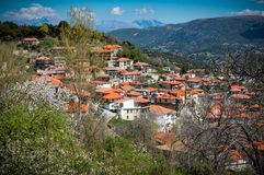 View of mountain village named Valtessiniko at Spring. Greece.  Stock Photo