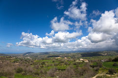 View of the mountain villages and fields on the island of Cyprus Royalty Free Stock Photo