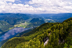 View from mountain Vogel to the lake Bohinj Stock Photography