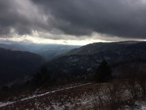 View from mountain at winter. Royalty Free Stock Photography