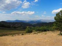 Col de L`espinousse, France. A view of the mountainous landscape of the Col de L`espinouse in southern France stock photos