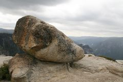 View in Mountains. Huge stone on Glacier Point in Yosemite National Park ,USA Royalty Free Stock Photos
