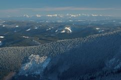 View of mountains. View of winter range Beskyd and High Tater Royalty Free Stock Photography