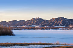 View of Mountains Across a Frozen Lake Royalty Free Stock Photos