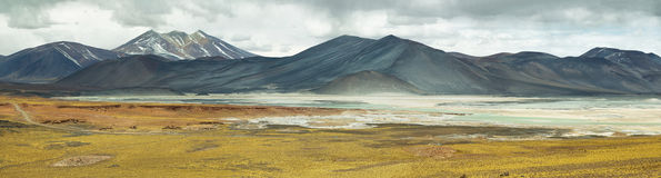 View of mountains and Aguas calientes  or Piedras rojas salt Lake in Sico Pass Stock Photography