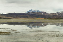 View of mountains and Aguas calientes  salt Lake in Sico Pass,. View of mountains and Aguas calientes  or Piedras rojas salt Lake in Sico Pass, Chile Stock Images