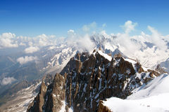 The view of mountains from Aiguille du Midi Stock Images