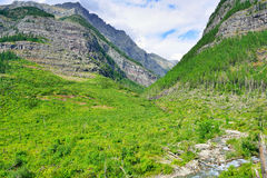 View of the mountains along the Avalanche lake Stock Photography