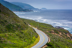 View of mountains along the coast and Pacific Coast Highway  Royalty Free Stock Photo