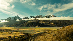 View of the mountains at Aoraki Mt Cook National Park Stock Images