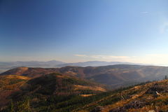 View of mountains. Autumn and blue sky. Malinowska Skała, Beskid Śląski, Poland Stock Image
