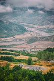 View of mountains Babadag in the clouds and a river Girdimanchay Lahij yolu from the side in Lahic village, Azerbaijan Stock Photos