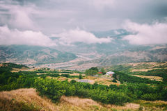 View of mountains Babadag in the clouds and a river Girdimanchay Lahij yolu from the side in Lahic village, Azerbaijan Stock Image