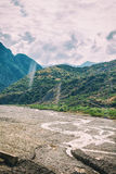 View of mountains Babadag and a muddy river Girdimanchay Lahij yolu from the side in Lahic village, Azerbaijan Stock Photo
