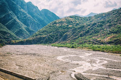 View of mountains Babadag and a muddy river Girdimanchay Lahij yolu from the side in Lahic village, Azerbaijan Stock Images