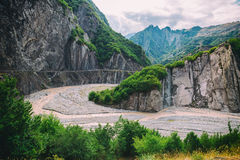View of mountains Babadag and a muddy river Girdimanchay Lahij yolu from the side in Lahic village, Azerbaijan Royalty Free Stock Photos