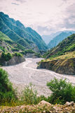 View of mountains Babadag and a muddy river Girdimanchay Lahij yolu from the side in Lahic village, Azerbaijan Royalty Free Stock Photo