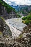 View of mountains Babadag and a muddy river Girdimanchay Lahij yolu from the side in Lahic village, Azerbaijan Royalty Free Stock Image