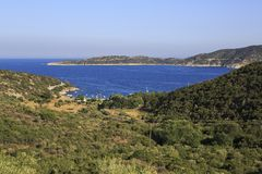 View from the mountains of the bay of Aegean Sea. Royalty Free Stock Photography