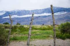 View of the mountains behind the barb wires Royalty Free Stock Images