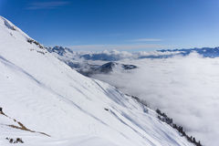 View on mountains and blue sky above clouds Stock Photography