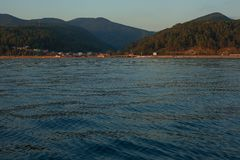 View on the mountains from the sea Stock Photos