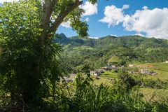 A view of the mountains in central Puerto Rico. A view of a valley and mountains in central Puerto Rico on a sunny day Stock Images