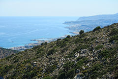 View from the mountains down to bay of Malia, Crete Greece Royalty Free Stock Photography