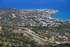View from the mountains down to bay of Malia, Crete Greece Stock Image