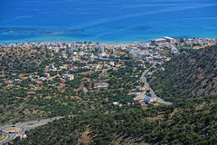 View from the mountains down to bay of Malia, Crete Greece Stock Photos
