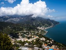 View from the mountains down to the magnificent coast to the city of Amalfi in Italy Stock Photography