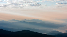 View of mountains in early morning rays of light, in Himalayas, Langtang National Park, Nepal.  stock images
