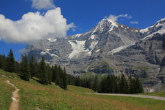 View at mountains Eiger and Mönch in Switzerland Stock Images