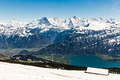 View from the Niederhorn Beatenber Mountain in Switzerland Stock Photography