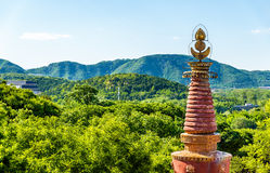 View of mountains from the Four Great Regions Temple at Summer Palace - Beijing Royalty Free Stock Photo