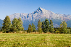 View on mountains of High Tatras and peak Krivan stock photo