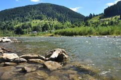 View of the mountains, hillsides, clear water of the river Royalty Free Stock Photo