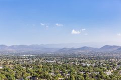 Landscape near the Ruins of Teotihuacan in Mexico. View of Mountains and Landscape near the Ruins of Teotihuacan in Mexico royalty free stock image