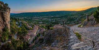 Panorama over Moustiers Sainte Marie. View from the mountains in the lovely village of Moustiers Sainte Marie in France Royalty Free Stock Photos