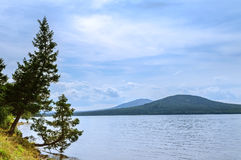 View on the mountains Lukash and Nurgush from the shore of Lake Zyuratkul, Southern Urals Stock Photography